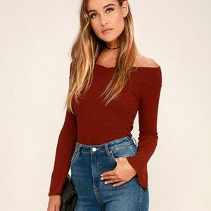 Lucky Star Burgundy Off-the-Shoulder Top